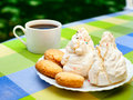 Sardinian sweets and cookies with moka pot outdoors Royalty Free Stock Images