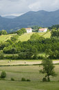 Sare, France in Basque Country on Spanish-French border, is a hilltop 17th century village surrounded by farm fields and mount Rhu Royalty Free Stock Photo