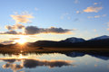 Sarek sunset at an arctic lake in national park sweden Royalty Free Stock Photos