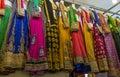 Saris on display at Tekka Market in Singapore Royalty Free Stock Photo
