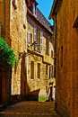 Sarlat deserted street of the french city of Stock Image