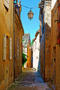 Sarlat deserted street of the french city of Stock Photos