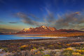 Sarmiento lake torres del paine sunrise national park patagonia chile Stock Photography