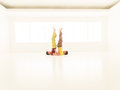 Sarvangasana yoga posture two boys repeat exercises in a white room with window background Stock Photo
