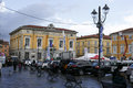 Sarzana italy march group adults children annual march fair sarzana several kiosks show cars background Royalty Free Stock Images
