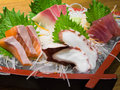 Sashimi on the boat japanese food Royalty Free Stock Photography