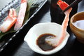 Sashimi crab with Japanese rice wine Sake Royalty Free Stock Photo