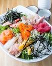 Sashimi don with sake Royalty Free Stock Photo
