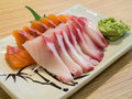Sashimi hamachi and salmon on plate Stock Photography
