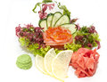 Sashimi japanese cuisine with vegetables and fish in a restaurant Royalty Free Stock Photos