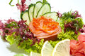 Sashimi japanese cuisine with vegetables and fish in a restaurant Stock Photography