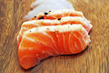 Sashimi sushi meal with salmon on a wooden plate Royalty Free Stock Image