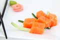 Sashimi sushi raw salmon pieces traditional japanese food Stock Photo