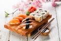 Sashimi and sushi rolls Royalty Free Stock Photo