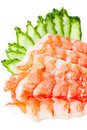 Sashimi Sushi with tiger prawns Royalty Free Stock Photos