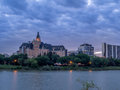 Saskatoon skyline at night Royalty Free Stock Photo