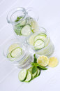 Sassy water fresh summer season detox drink with cucumber slices lime and mint Royalty Free Stock Photos