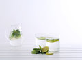 Sassy water fresh summer season detox drink with cucumber slices lime and mint Royalty Free Stock Image