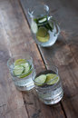Sassy water fresh summer season detox drink with cucumber slices lime and mint Stock Photography
