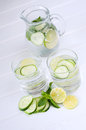 Sassy water fresh summer season detox drink with cucumber slices lime and mint Stock Images
