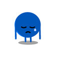 Sat digital drawing of a sad blue ball Royalty Free Stock Photos