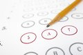 Sat test sheet closeup of a answer and pencil Royalty Free Stock Image