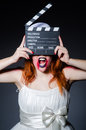 Satan halloween concept with movie clapper board Royalty Free Stock Photography
