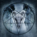 Satanic mass graphic with two hooded figures and a demonic ram skull materialising within an occult pentagram against a dark Stock Photo