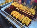 Satay charcoal grilled pork Royalty Free Stock Photography