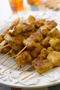 Satay chicken on a plate Royalty Free Stock Photos