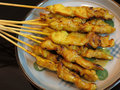 Satay delicious asian cuisine chicken Royalty Free Stock Photo