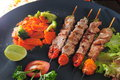 Satay grilled pork meat skewer Stock Image