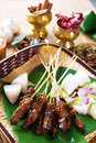 Satay malay food beef roasted meat skewer traditional malaysia hot and spicy malaysian dish asian cuisine Royalty Free Stock Image