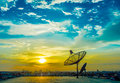 Satelite dishes with sunset Royalty Free Stock Photo