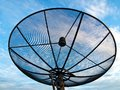 Satellite dish antennas under blue sky Stock Image