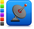 Satellite dish icon on square internet button original six color options included Royalty Free Stock Images