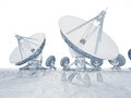 Satellite dish linear image of dishes on a white background can be associated with communication data transfer or contemporary Royalty Free Stock Images