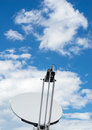 Satellite dish of mobile phone with blue sky Royalty Free Stock Photo