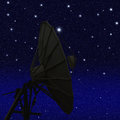 Satellite dish at night starry sky background Royalty Free Stock Photos