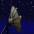 Satellite dish at night starry sky background Stock Images