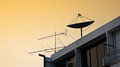 Satellite dish and old fishbone tv antenna Royalty Free Stock Photo