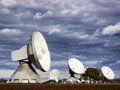 Satellite dish radio telescope group of modern dishes telescopes Royalty Free Stock Photo