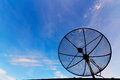 Satellite dish on the roof with blue sky background Royalty Free Stock Photo