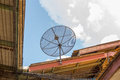 Satellite dish on roof old thaialnd Royalty Free Stock Images