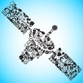 Satellite made of Media and Communication icon Royalty Free Stock Photo