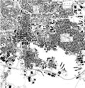 Satellite map of Baltimore, Maryland, city streets. Usa