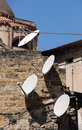 Satellite parabolic antennas view of some in the ancient part of the city of palermo sicily portrait cut Stock Photo