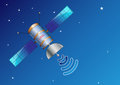 Satellite in space illustration easy to modify with blue background Royalty Free Stock Image