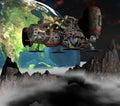 Satellite sputnik orbiting 3d earth Royalty Free Stock Photo