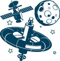 Satellites collection of satellite and space themed clip art Stock Photography